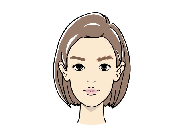 面長女性の眉メイク