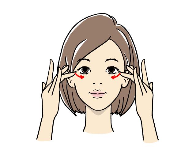 むくみ予防の目元のストレッチ